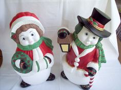 Vintage Mr. and Mrs. Snowman Hand Painted Ceramic Set of Two Large Home Décor
