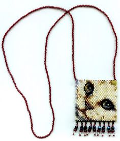 Cat Beaded Amulet Bag Necklace