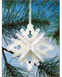 Plastic Canvas - Holiday & Seasonal Patterns Stitch a sparkling snowflake mobile and dimensional ornament with canvas using metallic yarn and plastic canvas yarn. Size: Snowflake: 3 in diameter. Mobile: x excluding hanger. Snowflake Craft, Snowflake Pattern, Snowflake Ornaments, Snowflakes, Ornament Crafts, Plastic Canvas Ornaments, Plastic Canvas Christmas, Plastic Canvas Crafts, Plastic Canvas Stitches