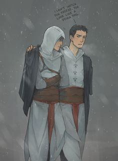 "Malik can't stand to watch Altair freeze. ""Cold winter night"" by lanimalu on DeviantArt.com."