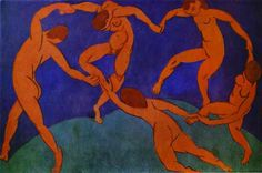 """Henri Matisse (1869-1954) """"Dance"""" (1910) The Hermitage, St. Petersburg, Russia. / """"Dance"""" is a large decorative panel, painted with a companion piece """"Music"""" specifically for the Russian businessman and art collector Sergei Shchukin, with whom Matisse had a long association. Dance is commonly recognized as """"a key point of (Matisse's) career and in the development of modern painting""""."""