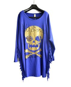 Blue Diamanted Skull Print Oversized T-shirt with Batwing Sleeve and Tassel sides