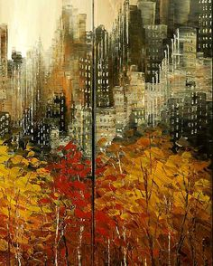 Abstract City Painting Skyline Urban Cityscape von TatianasART
