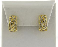 18k Gold Diamond Braided Motif Half Hoop Earrings Featured in our upcoming auction on July 26!