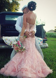 Rustic wedding, country wedding, vintage wedding, pink wedding dress,
