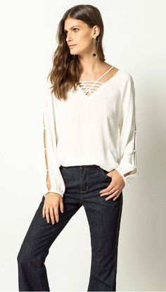 BLUSA CREPE VISCOSE - shoulder-mobile