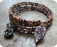 Memory Wire Bracelet in a Mix of Peanut Seed Beads & Copper Seed Beads - BTW - Cuff Bracelet by humblebeads, via Flickr