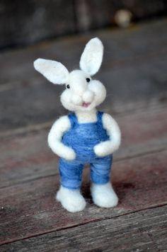 Needle Felted wool Bunny Rabbit needle felted by BearCreekDesign