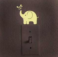 Glow in the dark decal, light switch decal, baby elephant decal, baby gift, elephant light switch, Kids Room decor, elephant nursery decor by dadavinylsanddesigns on Etsy