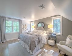 "Shingle Cape Cod Home with Blue Kitchen Ceiling - ""Master Bedroom Paint Color"" (Rockport Gray by Benjamin Moore) Estilo Cape Cod, Home Bedroom, Bedroom Decor, Bedroom Ideas, Teen Bedroom, Bedroom Rustic, Bedroom Modern, Apartment Decoration, Coastal Bedrooms"