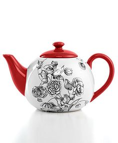 Certified International Drinkware, Toile Teapot I want it in either scarlet, blue, or maybe even the green!