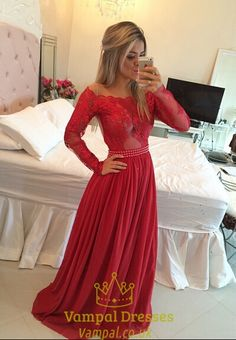 vampal.co.uk Offers High Quality Red Illusion Lace Bodice Long Sleeve Chiffon…