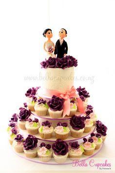 Purple rose cupcake tower