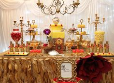 Belle Beauty and the Beast Birthday Party Ideas Photo 32 of 42 Beauty And Beast Birthday, Beauty And The Beast Theme, Beauty And Beast Wedding, Beauty And The Best, Beauty Beast, Quince Themes, Quince Ideas, Deco Table Noel, Disney Princess Party