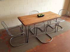 Wood top oval w hairpin legs Dining Room Tables a Pizazzathon