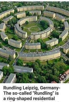 Rundling Leipzig, Germany- The so-called Rundling is a ring-shaped residential complex in the South-East of Leipzig, Germany. It was built from 1929 to 1930 by architect Hubert Ritter Rundling Leipzig, Germany- The so-called Residential Complex, Residential Architecture, Landscape Architecture, Architecture Design, Architecture Diagrams, Architecture Portfolio, Sustainable Architecture, Ancient Architecture, Amazing Architecture