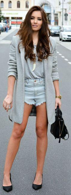 Zara Grey Long Line Blazer Shape Coat by Stylish !
