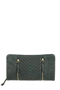 Portefeuille cuir vert détails zippés Gloria