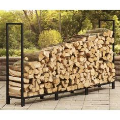 Holds and stores up to cord of firewood Powder-coated steel construction Heavy-duty square tubular construction for added stability Keeps your firewood neat, clean, dry and off the ground Easy assembly Outdoor Firewood Rack, Firewood Holder, Firewood Storage, Firewood Rack Plans, Fireplace Tool Set, Fireplace Design, Outdoor Deep Seat Cushions, To Build A Fire, Log Holder