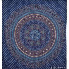 Blue Bird Paradise Hippie Mandala Indian Tapestry Wall Hanging Decor Art on RoyalFurnish.com, $22.99