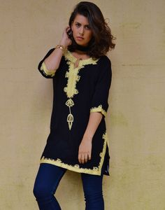 b9b0e074d03 Spring Bohemian Black with Brown Embroidery Moroccan Tunic Khalia- gifts