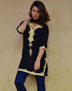 Winter Bohemian Black with Brown Embroidery Moroccan Tunic Khalia-for gifts, holiday wear, casual wear, resortwear, beach wear,eid, summer by MaisonMarrakech on Etsy
