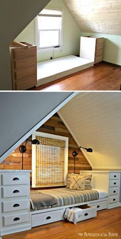 Built-in Bed Using Kitchen Cabinets. Make this cozy built-in bed with stock kitchen cabinets. Add trundle drawers for more storage. Attic Rooms, Attic Spaces, Small Spaces, Attic Bedroom Small, Small Rooms, Attic Apartment, Open Spaces, Attic Bedroom Ideas Angled Ceilings, Sloped Ceiling Bedroom