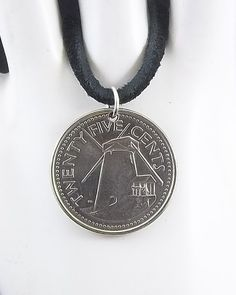 2008 Barbados Coin Necklace Windmill Coin by AutumnWindsJewelry