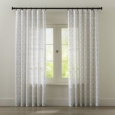 """Lila 48""""x84"""" Black and White Curtain Panel   Crate and Barrel"""