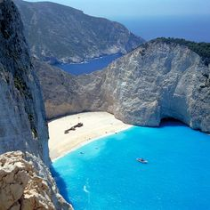 This beach is amazing! The beach is made up of beautiful tiny smooth rocks. Zakynthos Island, Greece