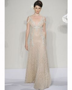 Nude-Colored A-Line Gown, Pnina Tornai for Kleinfeld