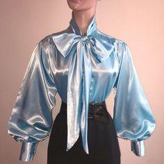 LIGHT BLUE Shiny LIQUID SATIN Vtg St BOW Blouse HIGH NECK Shirt S M L 1X 2X 3X    eBay