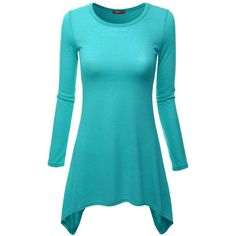 Doublju Women Round Neckline Long Sleeve Lightweight Knitted Tunic top ($15) ❤ liked on Polyvore featuring tops, tunics, lightweight tops, blue tunic, long sleeve tops, long sleeve tunic and blue top