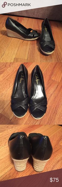 """Cole Haan leather wedges Black Cole Haan Leather wedges with Nike Air technology. 3"""" wedge. Size 6 1/2 Cole Haan Shoes Wedges"""