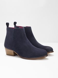 Eliza Cuban Heel Ankle Boots (Navy)   White Stuff Navy Tights, Smart Dress, Court Shoes, Suede Ankle Boots, White Stuff, Navy And White, Chelsea Boots, Shopping Bag, Stylish