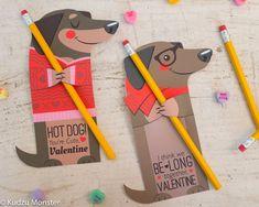 Weenie Dog Valentine Printable Dachshund Puppy Non candy Valentine huggers by KudzuMonster