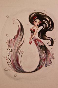 %u2665 The Art of Liana Hee %u2665: VERSUS: A Show of Opposites - Unique Koi Mermaid watercolor paintings