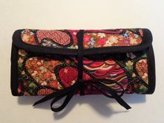 Crochet Hook Case Red Black Tan Crazy Quilt Pattern Quilted Bag by RoxannasBags on Etsy