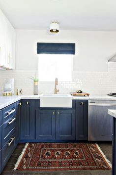 Navy Cabinets! 6 Kitchen Design Trends That Will Be Huge in 2017 via @PureWow