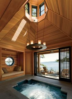A 10,000-square-foot residence designed by Robert A. M. Stern Architects ~ Spa at the rocky edge of an island off the coast of British Columbia, Canada.