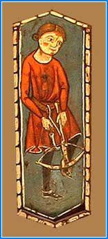 En la cuarta tabica aparece la figura de un ballestero, que viste saya carminosa, en posición de cargar su ballesta con el arco sujeto con el pie izquierdo, mientras con la mano derecha tira de la cuerda con el tensor que lleva sujeto al cinturón