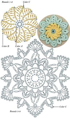 Crochet Snowflake Pattern, Crochet Motif Patterns, Crochet Stars, Crochet Circles, Crochet Snowflakes, Crochet Mandala, Crochet Diagram, Filet Crochet, Irish Crochet