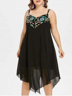 c9e1c385053 Shop for Black 5x Plus Size Embroidery Back Split Cami Dress online at   19.64 and discover