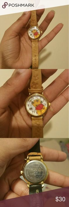 Winnie the pooh watch - Winnie the Pooh  Leather band, stainless steel back, Winnie the pooh states water resistant. Accessories Watches