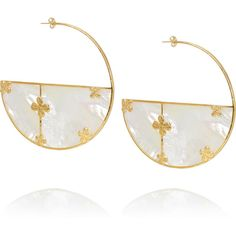Bianca gold-plated mother-of-pearl earrings, Aurélie Bidermann,... (9.455 RUB) ❤ liked on Polyvore featuring jewelry, earrings, accessories, oversized jewelry, geometric jewelry, mother of pearl jewelry, geometric earrings and gold plated jewelry