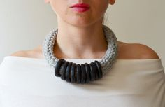 Urban necklace/street fashion/urban jewelry/black necklace/ideas for gifts/contemporary jewelry/crochet necklace
