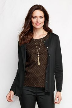 9e475dad6bbd Women s Long Sleeve Supima Micro Modal Cardigan from Lands  End Office  Attire