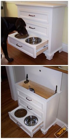 Awesome Old Dresser Makeover Ideas With DIY Tutorials Inspirational ideas to re-purpose and recycle old dressers. Awesome Old Dresser Makeover Ideas into New furniture table, bench, kitchen island. Dog Crate Furniture, Repurposed Furniture, Furniture Design, Furniture Ideas, Refurbished Furniture, Cheap Furniture, Diy Furniture Repurpose, Dresser Repurposed, Blue Furniture