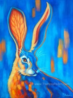 Jack Rabbit Painting in Bright Colors by Theresa Paden -- Theresa Paden