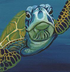 Marine Sea Turtle Wildlife Art Original Canvas Magnet  Painting -C. Smale #Miniature